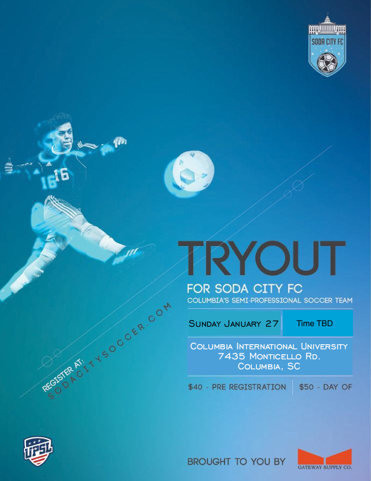 Soda City FC Tryouts January 27 2019
