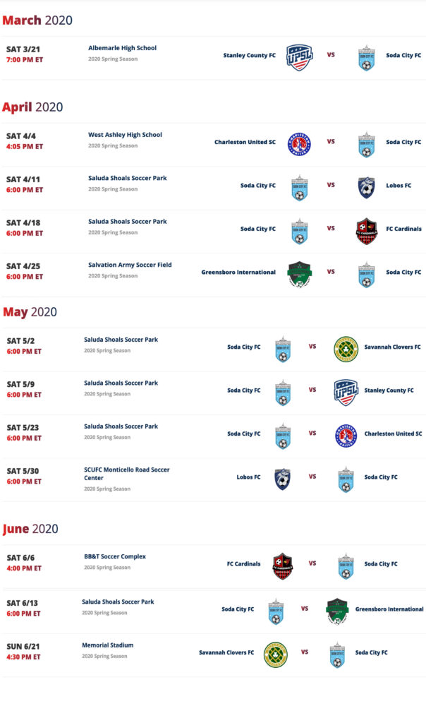 soda city fc 2020 schedule